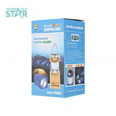GSH-8009A+CLOCK Solar Energy Camping Lantern with colored box 14*7.5CM