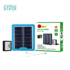 SA-7789   SUN AFRICA Hot Sale ABS  Rechargeable  DC 6V 2.5W Polycrystalian Solar Energy System with 2 Square Type16.4* 14.4 cm  COB Reflector Light 3 Meter 2W Charging Cord with 3 Hubs 1500 mAh Lithium Battery