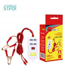 SA-906 Hot Sale Portable ABS 12-24V/Output 5V 2A Clamp Charges with 2 Hubs for 6101/8602  Sockets 1.5M Charging Cord