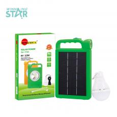 SA-7794 SUN AFRICA Hot Sale 3.5W 6V Polycrystalline Home Solar Energey Light System with  One Set of 5V 3W Blub 12 Pcs 2835 SMD  2.5M  Charging Cord  2*1200mAh Lithium Battery 3 Hubs  Plastic Suspension Loop.