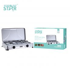 ST-9603 WINNING STAR  Hot Sale Deluxe Gas Stove with Lid Stainless Steel with Silver Spray Color Cast Alumium Burner Base Enameled Fir Cap