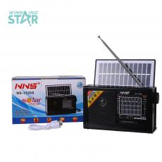 NS-1520S New Arrival 6V 1W Solar Rechargeable Speaker with Bluetooth/FM/AM/SW 1-6 8 Bands /USB/TF Flashlight /1200mAh Lithium
