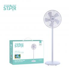ST-4005 New Arrival AC 220-240V/DC 12V 45W Solar Rechargeable Stand Fan  3 Speed. Copper Motor Over Heat Protection,  Plastic Grill Cover. 5 Leaf-Plastic  Blades. PP Havey Duty Base. Total Height  128mm.  2*0.75*1.6M Power Cord BS Plug Hot