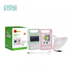 SA-7822 New Arrival Sun Africa Solar System COB+1 Lamp with 5.5V/0.8W Solar Panel, 2 Steps Switch, USB/V8 Port, 2*18650 Lithium Battery 1200 mAh, Unit Size: 17*10.3*3.2CM, Pink/White, Pink/Green, Hotsale Wholesale in Africa.