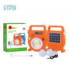 SA-7813 New Arrival Sun Africa Solar System with 5V/2W Solar Panel Switch Radio Bluetooth 5W Round COB ABS, Unit Size: 22*16.6*1.5CM, Lithium Battery 2400 mAh, 2 Milky Bulbs, 3-1 Wire, Hotsale Wholesale in Africa