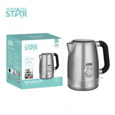 ST-6004 New Arrival Winning Star 1.7L Kettle AC 220-240V, 50/60HZ, 1850W-2200W, Stainless Iron 304, Thermostat, Mingjia Heating Tube, Anti-Drying, Transparent Water Level Window, Thermometer, Filter Screen, Copper Power Cord 3*0.75MM, Cable