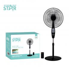 ST-4006 New Arrival Winning Star Remote Control Floor-Mounted Fan 16 Inch AC 220-240V, 50HZ, 60W, Timing 7.5H, 66*16mm Motor Copper with Overheat Protection, AS Plastic 5 Leaves, Base Control Panel ABS with Counterweight; Total Product Heig