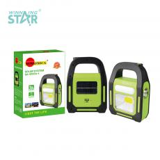SA-9707A-1 New Arrival Sun Africa Solar Rechargeable Hand Hold Camping Lamp 1 1W Lamp 1 COB Tube and 1 COB with 3 Nickel Metal Hydride Batteries 1800mAh USB Charging Line 3 Step Press-Button Switch