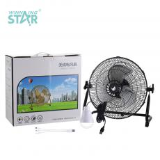 ST-4009 New Arrival Winning Star Rechargeable Floor Fan 12 Inch AC 110-240V 12 File Iron Shell with 3 Aluminum Leaves 13.5V 1.5A Charging Line 1M 12V 4Ah DC Rechargeable Lithium Battery 3 Hours Charging Time Overheat Protection USB Rechargi