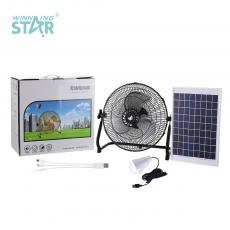 ST-4009TYN New Arrival Winning Star AC 110-240V Solar Fan Lighting System 18V 10W Solar Panel with DC Connector USB light bulb 3 Hubs 12 Inch Floor Fan with Iron Shell 3 Aluminum Leaves 13.5V 1.5A Charging Line 1M 12V 4Ah DC Rechargeable Li
