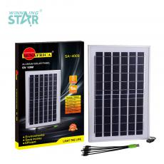 SA-4009 New Arrival SUN AFRICA 10W/6V Polycrystalline Solar Panel with Silver Aluminum Frame 2m 5 in 1 USB Charging Cable