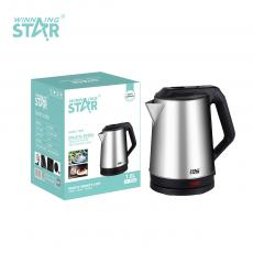 ST-6008 New Arrival WINNING STAR 220V-240V 1800W SS201 Stainless Steel Large Diameter Electric Kettle Drinking Water Boiling Pot 1.8L with Bimetallic Thermostat Steam Induction Switch Upper Cover Water Ring BS Plug