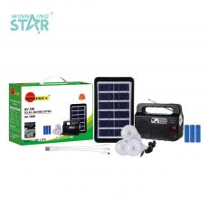 SA-7829 New Arrival Solar Speaker System with U-Tube+3030 Patch Lamp Beads Light Radio/Bluetooth/Antenna/TF/USB*2 Battery Display 18650 Lithium Battery 1200mAh*3 6V/3W Solar Panel Transparent Lampshade Switch LED Bulb*3 3 In 1 Line