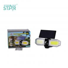 SH-078B New Arrival 2 Leaf Solar Wall Hanging Lamp Street Lamp with COB*2 Rotatable Adjustable PET Solar Panel Human Sensing Function Built-in Lithium Battery 1800mAh 3 Step Button Switch