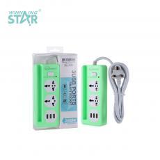 K203 New Arrival SOLO AFRECA ABS 1000W 2 Way 1 Switch Multi Electrical Power Plug Socket with 5V1A 3*USB Port 2m BS Plug Line