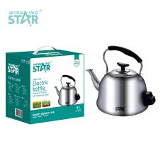 ST-6010 New Arrival WINNING STAR AC 220V-240V 1500W 201# Stainless Steel Electric Teapot Kettle 5L with Anti-Dry Burning 85cm Copper Wire VDE Plug