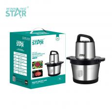 ST-5560 New Arrival WINNING STAR 1000W Multifunctional Electric Food Processor Meat Grinder 6L with 304 Stainless Steel 4 Leaf Blade 7632# Copper Motor Stainless Steel Bowl VDE Plug