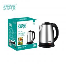 ST-6011 New Arrival WINNING STAR 220V-240V 1500W 201# Stainless Steel Large Diameter Electric Kettle Drinking Water Boiling Pot 1.8L with Temperature Controller 0.75m Cable BS Plug