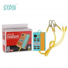 New Arrival LED Clip Charger with 50+40cm 2 In 1 V8/6101 Cable 8*USB Port 2 50A Copper Plated Clips