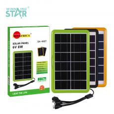 SA-4027 New Arrival SUN AFRICA 8W/6V Polycrystalline Solar Panel with 2.5m 5 in 1 DC5V/6101/V8/V3/USB Cable Plastic Shell