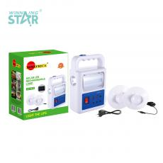 SA-7833 New Arrival 2 Tube+Light Solar System with 5.5V/1.5W Polycrystalline Solar Panel Built-In Battery 3000mAh 2 Step Push Switch USB/Solar Panel/Bulb*3 Port 3m Line Hanging Lamp*2 8-Shape Wire