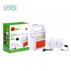 SA-7834 New Arrival COB+Light Solar System with 5.5V/1.5W Polycrystalline Solar Panel Built-In Battery 3000mAh 2 Step Push Switch USB/Solar Panel/Bulb*3 Port 3m Line Hanging Lamp*2 8-Shape Wire