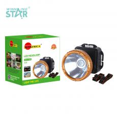SA-1708 New Arrival SUN AFRICA 1W Φ7cm LED Head Lamp with Aluminum Lamp Cup 3*5# Battery 3 Step Button Switch Headband