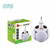 SA-2029 New Arrival SUN AFRICA ABS LED Solar Rechargeable Emergency Lamp with Expandable 5-Leaf Bulb Opal Lampshade 18650 Battery 2400mAh 5 Step Switch Power Light Hook VDE Plug Charger