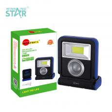 SA-1014B New Arrival SUN AFRICA Solar Rechargeable Rotatable LED Hand Hold Lamp with 1W Light+COB 18650 Lithium Battery 1500mAh 2 Step Button Switch USB/V8 Port USB Charging Line Handle