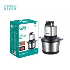 ST-5561 New Arrival WINNING STAR 1000W Multifunctional Electric Food Processor Meat Grinder 6L with 304 Stainless Steel 4 Leaf Blade 7632# Copper Clad Aluminum Motor 115cm Copper Cable BS Plug