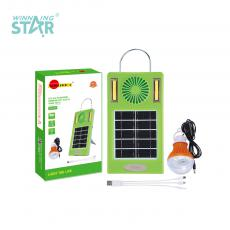 SA-007 New Arrival COB*2+2W Light Solar System with Fan 5V5W Solar Panel 3m Line Transparent Lampshade Bulb 2 Step Switch USB/V8/7201/Bulb Port 18650 Battery 2400mAh 3 in 1 Line