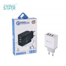 New Arrival 2.4A Charger with 3*USB Port VDE Plug