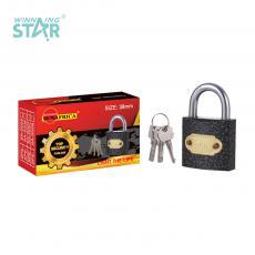 SA-S007 New Arrival SUN AFRICA 38# Plastic Spray Pad Lock 115g with 3 Atomic Crescent Keys
