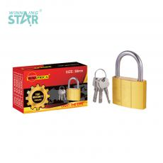 SA-S005 New Arrival SUN AFRICA 38# Imitation Copper Pad Lock 115g with 3 Atomic Crescent Keys