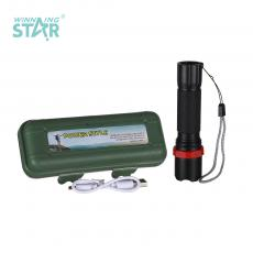 802C New Arrival Rechargeable Retractable Zoom Aluminum Alloy Flashlight with XPE Lamp 18650 Lithium Battery 3 Step Switch rope V8 Port USB Charging Line