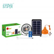 SA-7847 New Arrival SUN AFRICA Solar System with 70cm V8 Charging Wire 6V3W Solar Panel 12V+Low Voltage Emergency Bulb 18650 Lithium Battery 1200mAh USB/V8 Port 3 In 1 Charging Wire 4-Inch Fan