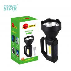 SA-899T New Arrival SUN AFRICA Solar Rechargeable Hand Lamp with 1W+COB Side Light 18650 Lithium Battery 1200mAh 4 Step Button Switch USB/V8 Port USB Charging Wire Power Indicator Light
