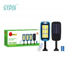 SA-8019A-COB-6 New Arrival SUN AFRICA Solar Induction Wall Lamp with 240 COB 6-Grid Light 18650 Lithium Battery 2400mAh Human Infrared Sensing Function 3 Step Button Switch Remote Control Screw Fitting
