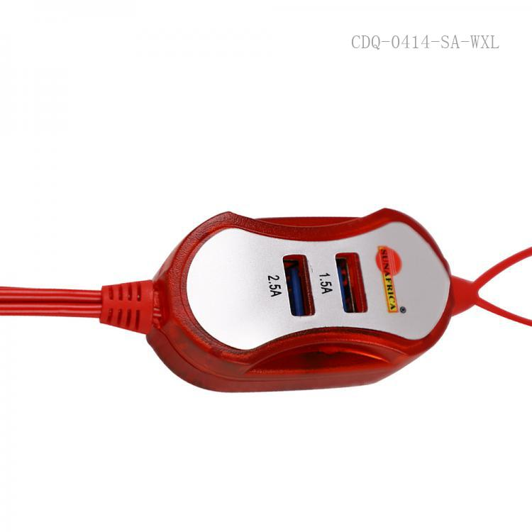 SA-911 SUNAFRICA Hot Sale Portable  Clip Charger  with 6101 / V8, 2 Clips, 2 USB,Input 12V,Output5V,Current 1A.