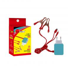 SA-967 Sun Africa Clip Charger with 4U 2/50A Small Copper Plated Large Clip Charger 6101+8600 1M Red Wire 2.8MM Outer Diameter 220V/12-24V Voltage Input 5V-2A Output Current  14*0.1 Thick Copper Wires  ABS Material  Hot sale Wholesale in Af