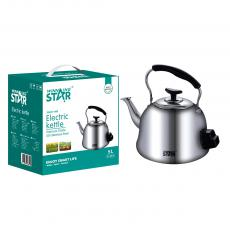 ST-6010 New Arrival WINNING STAR AC 220V-240V 1500W 201# Stainless Steel Electric Teapot Kettle 5L with Anti-Dry Burning 85cm Copper Wire BS Plug