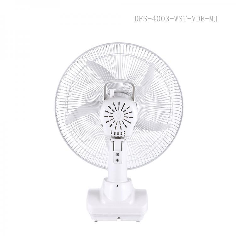 """ST-4003 WINNING STAR Hot Sale AC 110-240V 26W/DC 12V Rechargeable 14""""  Table Fans with   6V 5 Ah Rechargeable Aicd Battery   USB Recharging Functon LED Light Discharge Protetion 24 Hours Charging Time 6 Hours working Time VDE Plug"""