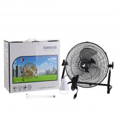 ST-4020 New Arrival Winning Star Rechargeable Floor Fan 12 Inch AC 110-240V 12 File Iron Shell with 3 Aluminum Leaves 13.5V 1.5A Charging Line 1M 12V 4Ah DC Rechargeable Lithium Battery 3 Hours Charging Time Overheat Protection USB Rechargi