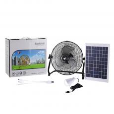 ST-4020TYN New Arrival Winning Star AC 110-240V Solar Fan Lighting System 18V 10W Solar Panel with DC Connector USB light bulb 3Hubs 12 Inch Floor Fan with Iron Shell 3 Aluminum Leaves 13.5V 1.5A Charging Line 1M 12V 4Ah DC Rechargeable Li