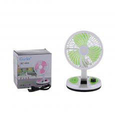 KC-5811 New Arrival Rechargeable Multifunctional Three Blade Folding Fan with 2 Step Switch COB Opal Lampshade Table Lamp Knob Built-In Lead Acid Battery 1600mAh 110V-220V Round Plug Charging Line