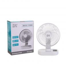 MG-8008F New Arrival 220V-240V 8in Rechargeable Mini Table Fan with 3-Speed Lithium Battery 1500mAh*2 Power Indicator Light 0.8W LED Light USB Charging Wire