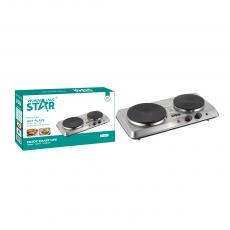ST-9633 New Arrival WINNING STAR 1500+1000W Double Burner Heater Hot Plate with VDE Plug Glass Cast Iron Hot Plate Power Light Adjustable Temperature Control 201 Stainless Steel Case