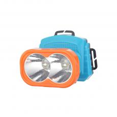 SF-611C 2 Bulbs Orange Mixed Blue Head Lamp Powered By 3AA Battery With Laciness