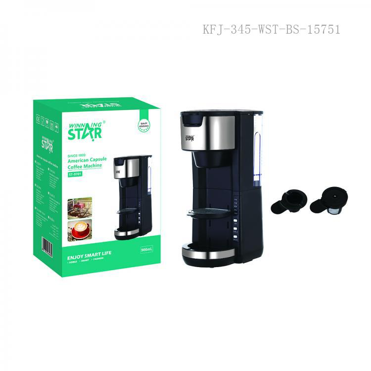 ST-9701 New Arrival WINNING STAR 220-240V 1000W PP+201 Stainless Steel K-CUP American Capsule Coffee Machine with Automatic Shutdown/ Constant Temperature/ Appointment Function S370D3-LP Water Pump 80cm Copper Charging Wire BS Plug