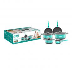 ST-5106 New Arrival WINNING STAR 6-Piece Die-Cast Aluminum Alloy Non-Stick Pan Cookware Set with Φ16cm Milk Pan Φ20cm/24cm/28cm Soup Pot Glass Lid*4 Φ26cm/28cm Deep Frying Pan